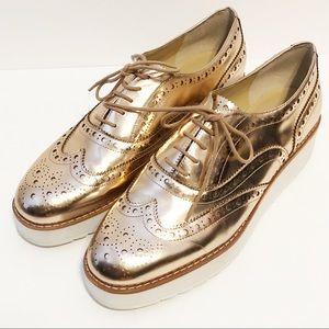 Botkier gold Clive Oxford shoe loafer size 8
